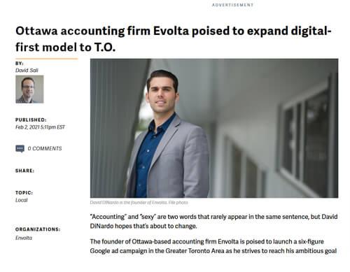 Ottawa Business Journal feature on Envolta, May 2018